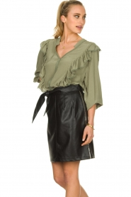 Sofie Schnoor |  Blouse with ruffles Pouline | green  | Picture 4
