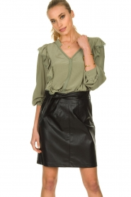 Sofie Schnoor |  Blouse with ruffles Pouline | green  | Picture 2