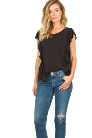 Sofie Schnoor |  Top with ruffle sleeves Mika | black  | Picture 4