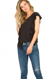 Sofie Schnoor |  Top with ruffle sleeves Mika | black  | Picture 2