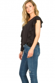 Sofie Schnoor |  Top with ruffle sleeves Mika | black  | Picture 5