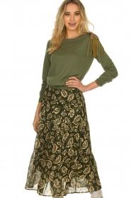 Sofie Schnoor |  Printed midi skirt Solvej | green  | Picture 2