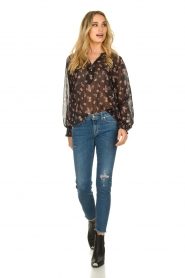 Sofie Schnoor |  Semi-sheer floral blouse Alvida | black  | Picture 3