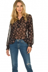 Sofie Schnoor |  Semi-sheer floral blouse Alvida | black  | Picture 4