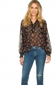 Sofie Schnoor |  Semi-sheer floral blouse Alvida | black  | Picture 2