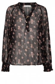 Sofie Schnoor |  Semi-sheer floral blouse Alvida | black  | Picture 1