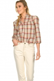 Sofie Schnoor |  Checkered blouse Franscisca | beige  | Picture 2