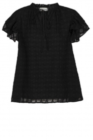 Sofie Schnoor |  Blouse with ruffles Seraphina | black   | Picture 1