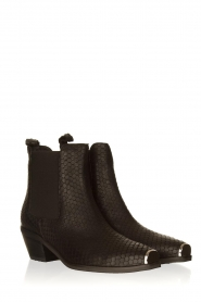 Sofie Schnoor |  Leather snake print boots Vally | black  | Picture 3