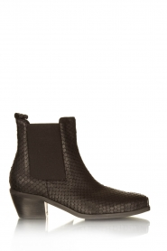 Sofie Schnoor |  Leather snake print boots Vally | black  | Picture 1