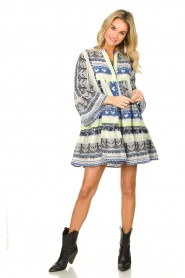 Devotion |  Cotton print dress Georgina | blue  | Picture 3
