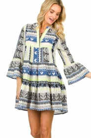 Devotion |  Cotton print dress Georgina | blue  | Picture 4