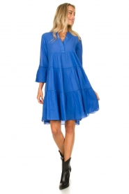 Devotion |  Cotton dress with ruffles Rosaline | blue  | Picture 3