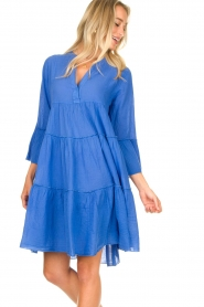 Devotion |  Cotton dress with ruffles Rosaline | blue  | Picture 4