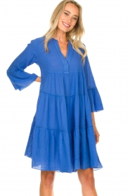 Devotion |  Cotton dress with ruffles Rosaline | blue  | Picture 2