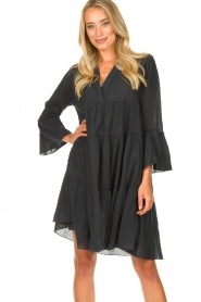 Devotion |  Cotton dress with ruffles Rosaline | black  | Picture 2