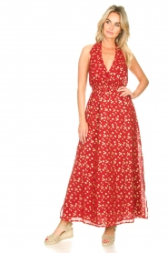 Sundress |  Cotton lurex maxi dress Hailey | red  | Picture 3