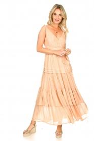 Sundress | Lurex maxi jurk Calypso | nude  | Afbeelding 3