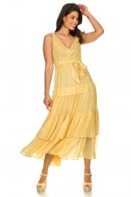 Sundress :  Lurex maxi dress Calypso | yellow - img2