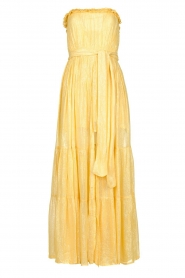 Sundress |  Strapless lurex dress Jonquille | yellow  | Picture 1