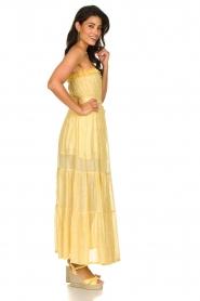Sundress |  Strapless lurex dress Jonquille | yellow  | Picture 5