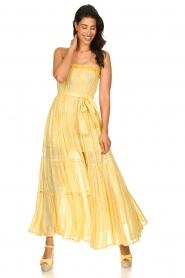 Sundress |  Strapless lurex dress Jonquille | yellow  | Picture 3
