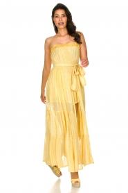 Sundress |  Strapless lurex dress Jonquille | yellow  | Picture 2