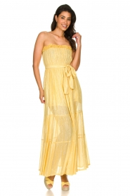 Sundress |  Strapless lurex dress Jonquille | yellow  | Picture 4