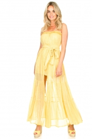 Sundress :  Strapless lurex dress Jonquille | yellow - img3