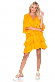 Sundress |  Lurex ruffle dress Mimosa | yellow  | Picture 3