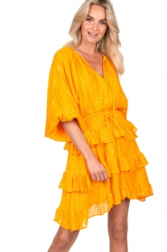 Sundress |  Lurex ruffle dress Mimosa | yellow  | Picture 4