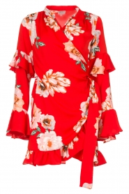 Misa Los Angeles |  Wrap dress with flowers Skylar | red  | Picture 1