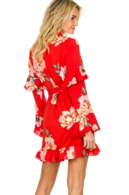 Misa Los Angeles |  Wrap dress with flowers Skylar | red  | Picture 5