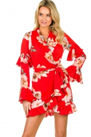 Misa Los Angeles |  Wrap dress with flowers Skylar | red  | Picture 2