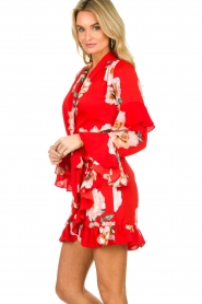 Misa Los Angeles |  Wrap dress with flowers Skylar | red  | Picture 4