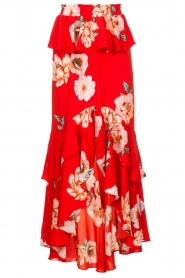 Misa Los Angeles |  Maxi skirt with volant Lucia | red  | Picture 1