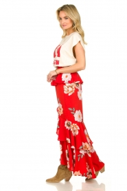 Misa Los Angeles |  Maxi skirt with volant Lucia | red  | Picture 4