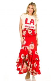 Misa Los Angeles |  Maxi skirt with volant Lucia | red  | Picture 3