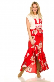 Misa Los Angeles |  Maxi skirt with volant Lucia | red  | Picture 2