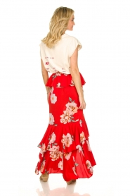 Misa Los Angeles |  Maxi skirt with volant Lucia | red  | Picture 5