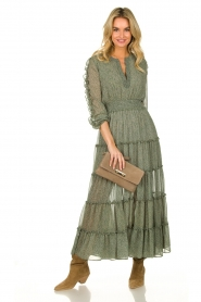 Misa Los Angeles |  Maxi dress with ruffles Hayeda | green  | Picture 3