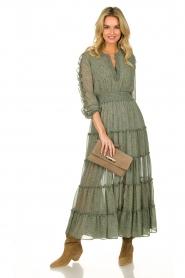 Misa Los Angeles | Maxi jurk met ruches Hadeya | groen   | Afbeelding 3