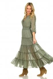 Misa Los Angeles | Maxi jurk met ruches Hadeya | groen   | Afbeelding 2