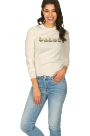 ba&sh |  Wool sweater with text Maxwell | naturel  | Picture 2