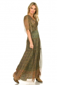 ba&sh |  Lurex maxi dress with print Perla | green  | Picture 2