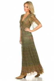 ba&sh |  Lurex maxi dress with print Perla | green  | Picture 5