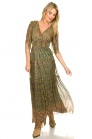 ba&sh |  Lurex maxi dress with print Perla | green  | Picture 4