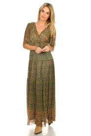 ba&sh |  Lurex maxi dress with print Perla | green  | Picture 3
