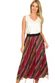 ba&sh |  Striped maxi skirt with lurex Midnight | pink  | Picture 3