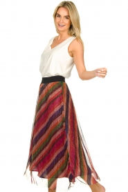 ba&sh |  Striped maxi skirt with lurex Midnight | pink  | Picture 4
